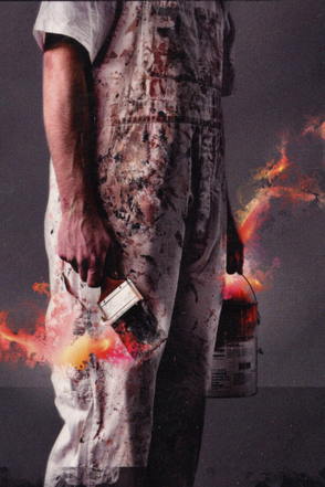 White Painting Man on Fire